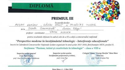 """Premiu național pentru creativitate tehnologică, ajuns la  Școala """"Lucian Blaga"""""""