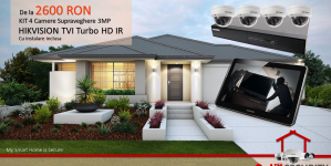 KIT CAMERE SUPRAVEGHERE VIDEO PROFESIONALE 3MP #HIKVISION, 2.600 LEI