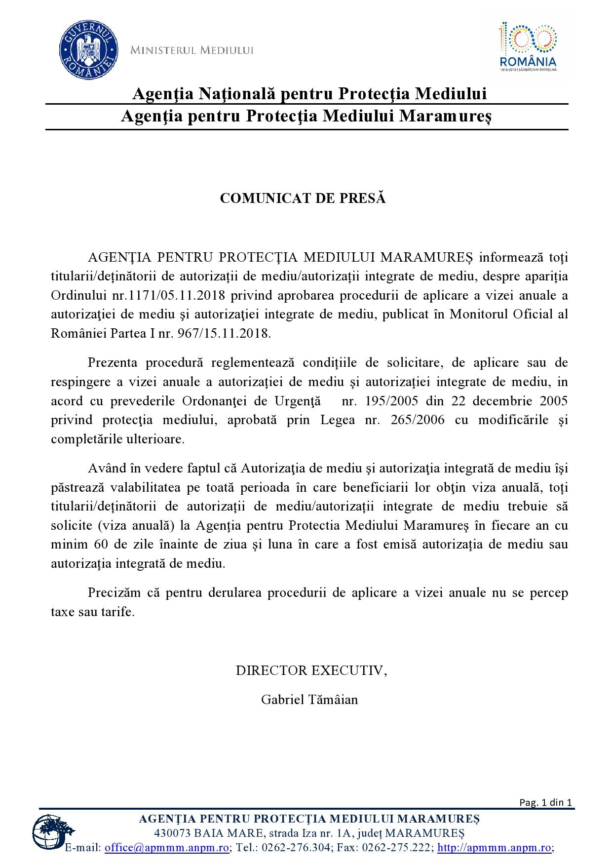 Comunicat de presă al Agenției pentru Protecția Mediului Maramureș