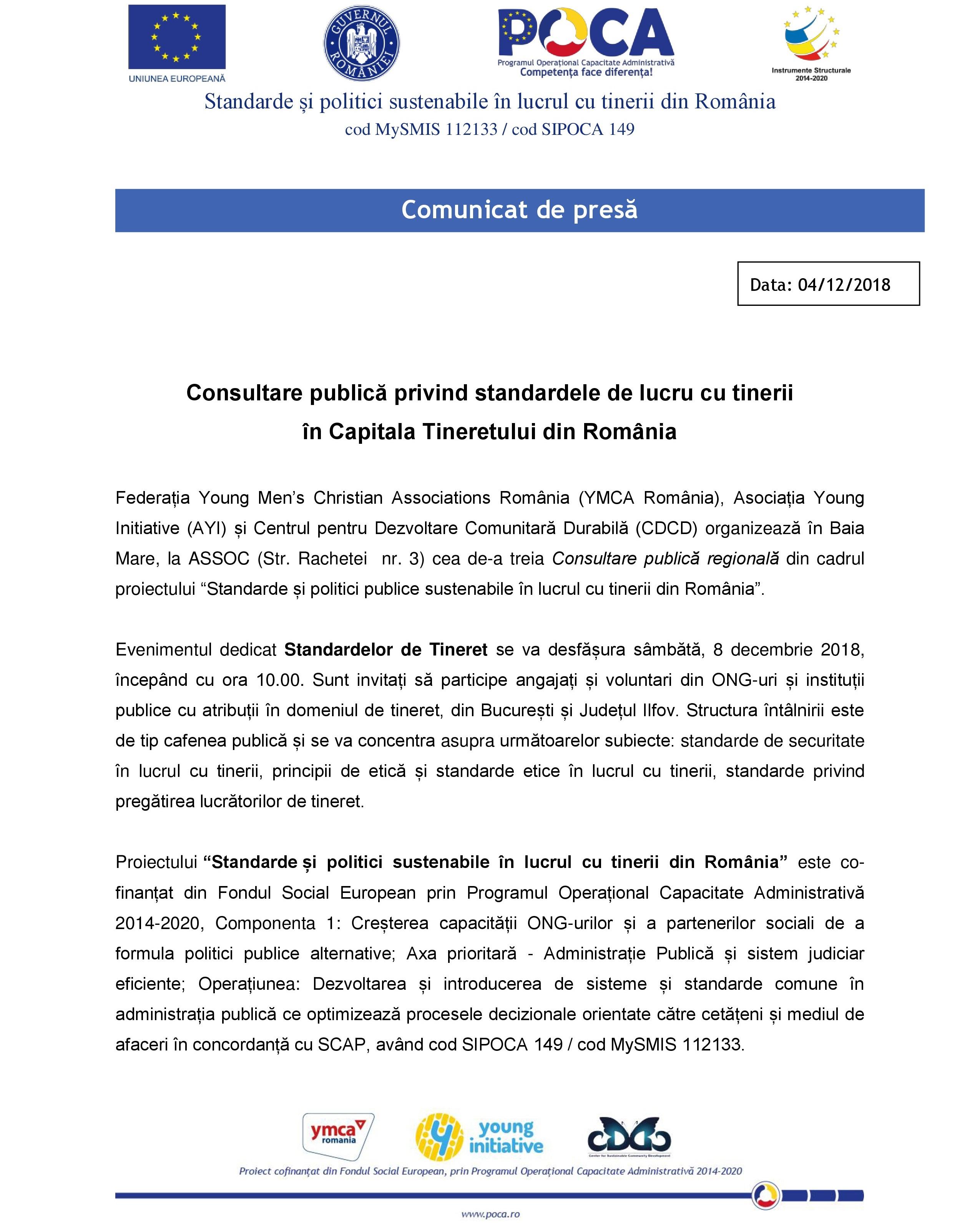 Comunicat de presă: Consultare publică privind standardele de lucru cu tinerii în Capitala Tineretului din România