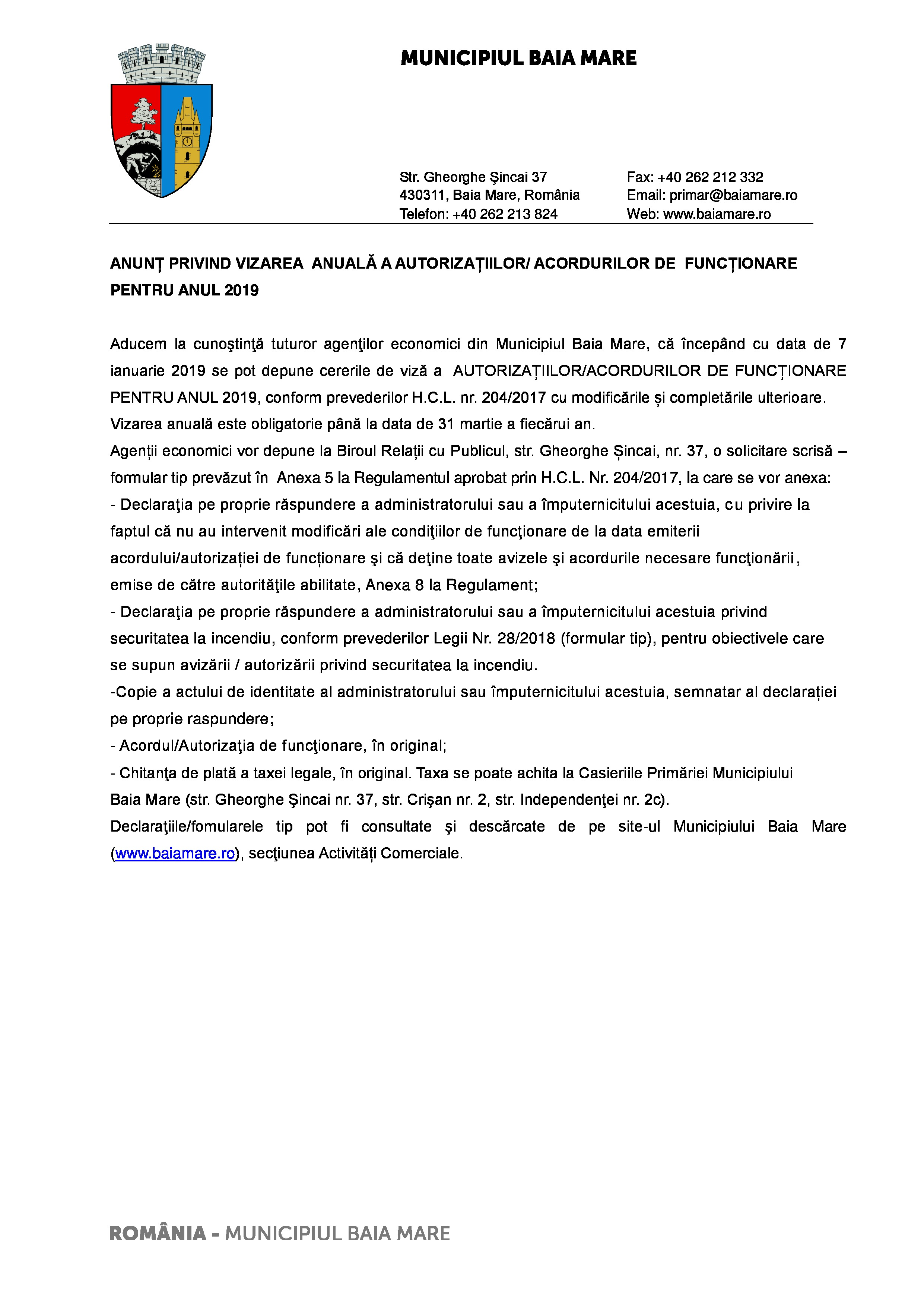 Anunț privind vizarea anuală a autorizațiilor/acordurilor de funcționare pentru anul 2019