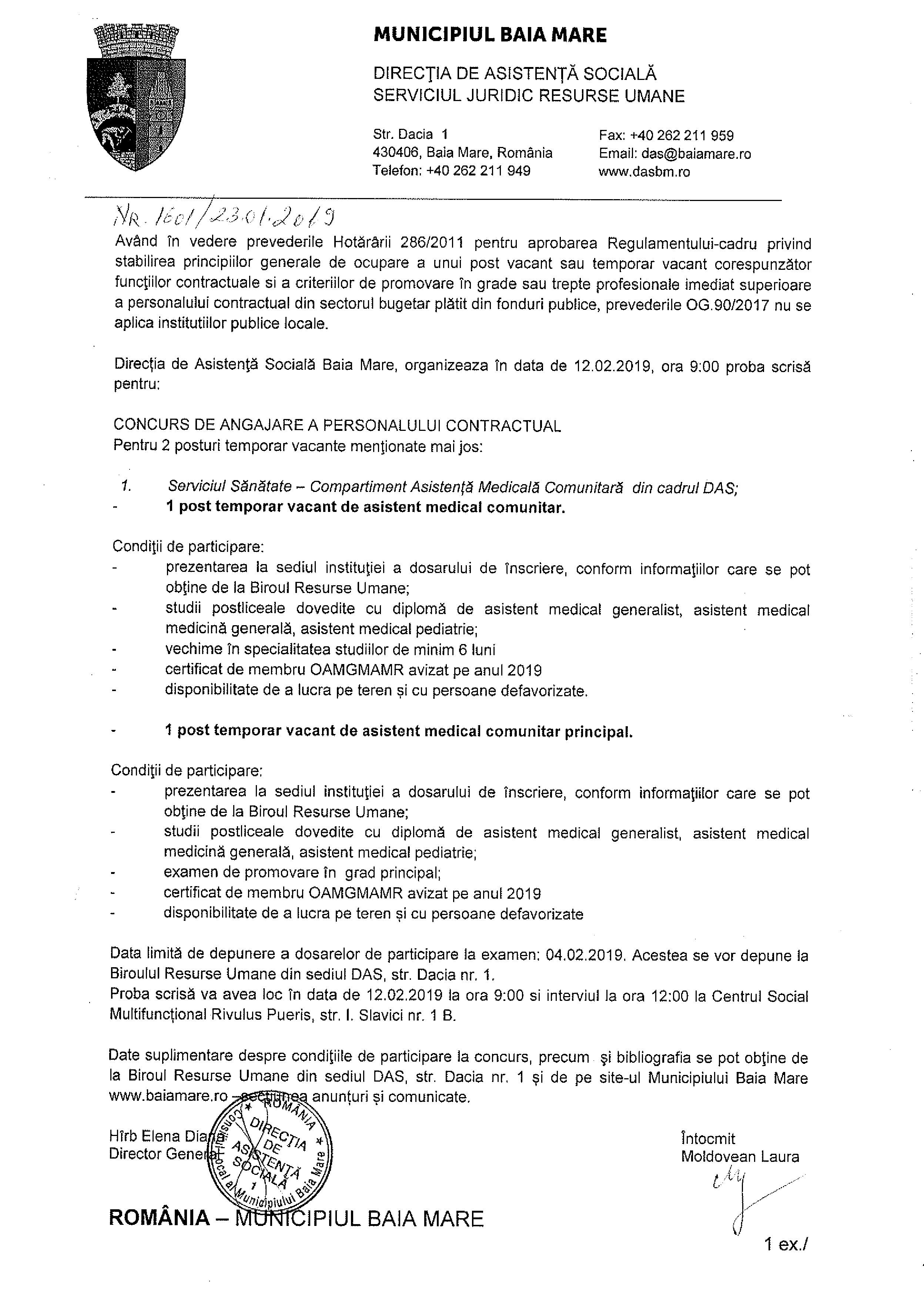 Direcția de Asistență Socială Baia Mare, organizează concurs de angajare, în vederea ocupării a 2 posturi contractuale temporar vacante de asistent medical comunitar