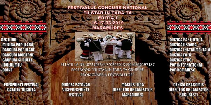 """Festivalul-concurs """"Fii star în țara ta"""" – organizat în Maramureș în 16-17 martie"""