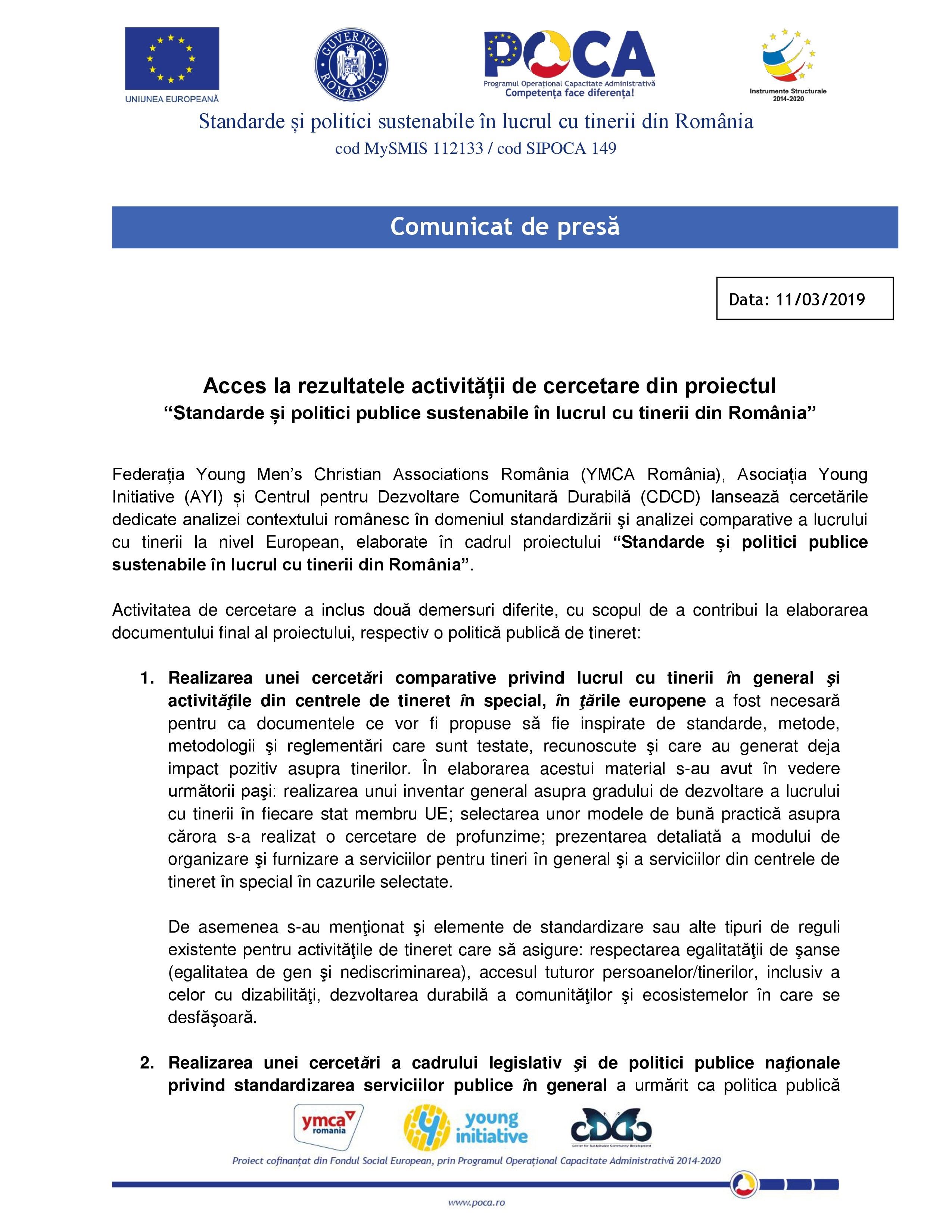 """COMUNICAT DE PRESĂ. Acces la rezultatele activității de cercetare din proiectul """"Standarde și politici publice sustenabile în lucrul cu tinerii din România"""""""