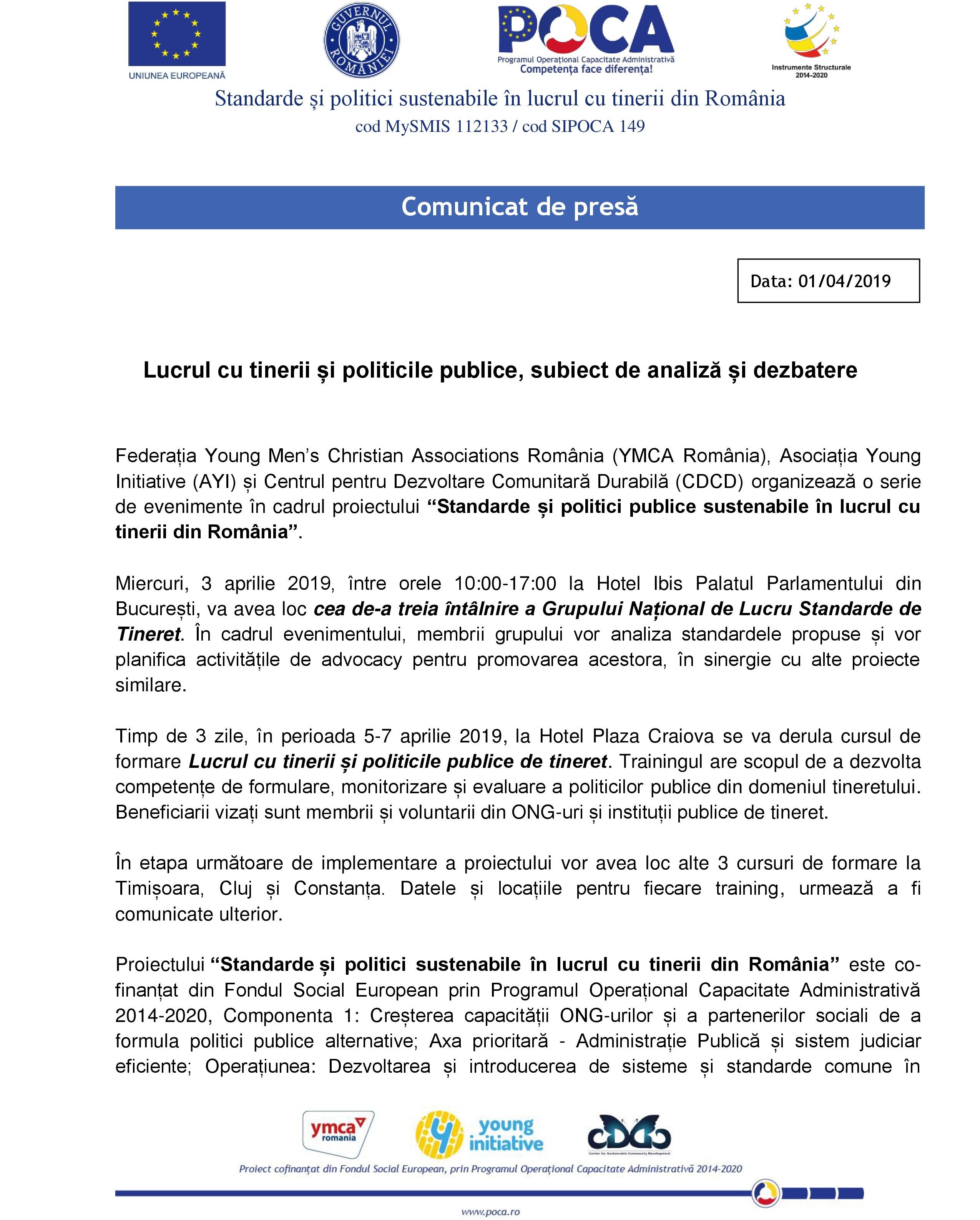 COMUNICAT DE PRESĂ. Lucrul cu tinerii și politicile publice, subiect de analiză și dezbatere