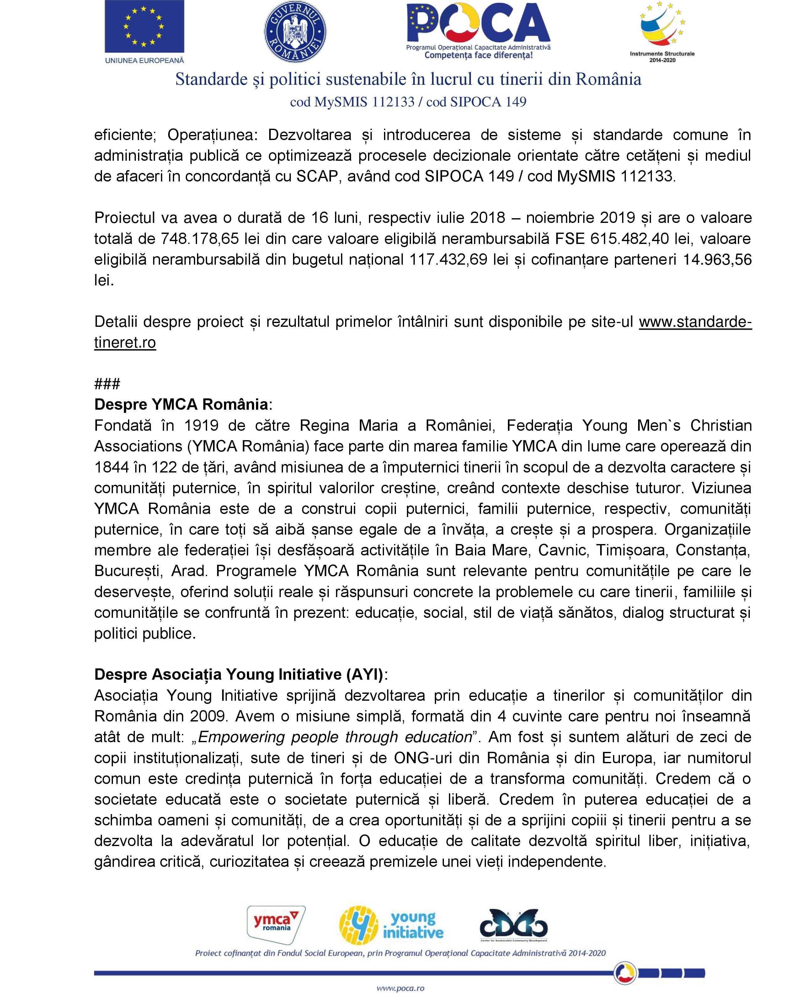 """COMUNICAT DE PRESĂ. Curs pe tema """"Lucrul cu tinerii și politicile publice"""""""