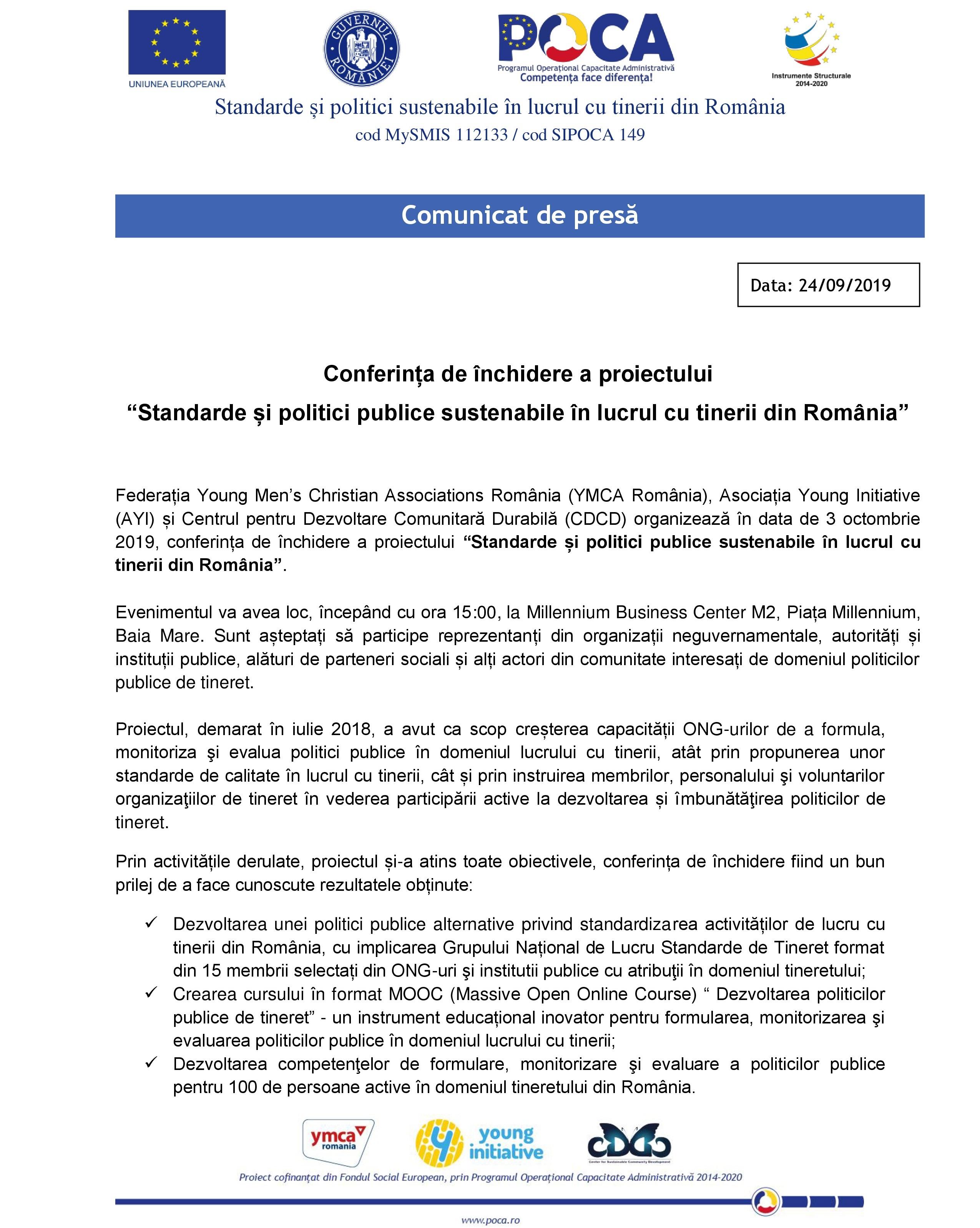 """COMUNICAT DE PRESĂ. Conferința de închidere a proiectului """"Standarde și politici publice sustenabile în lucrul cu tinerii din România""""."""