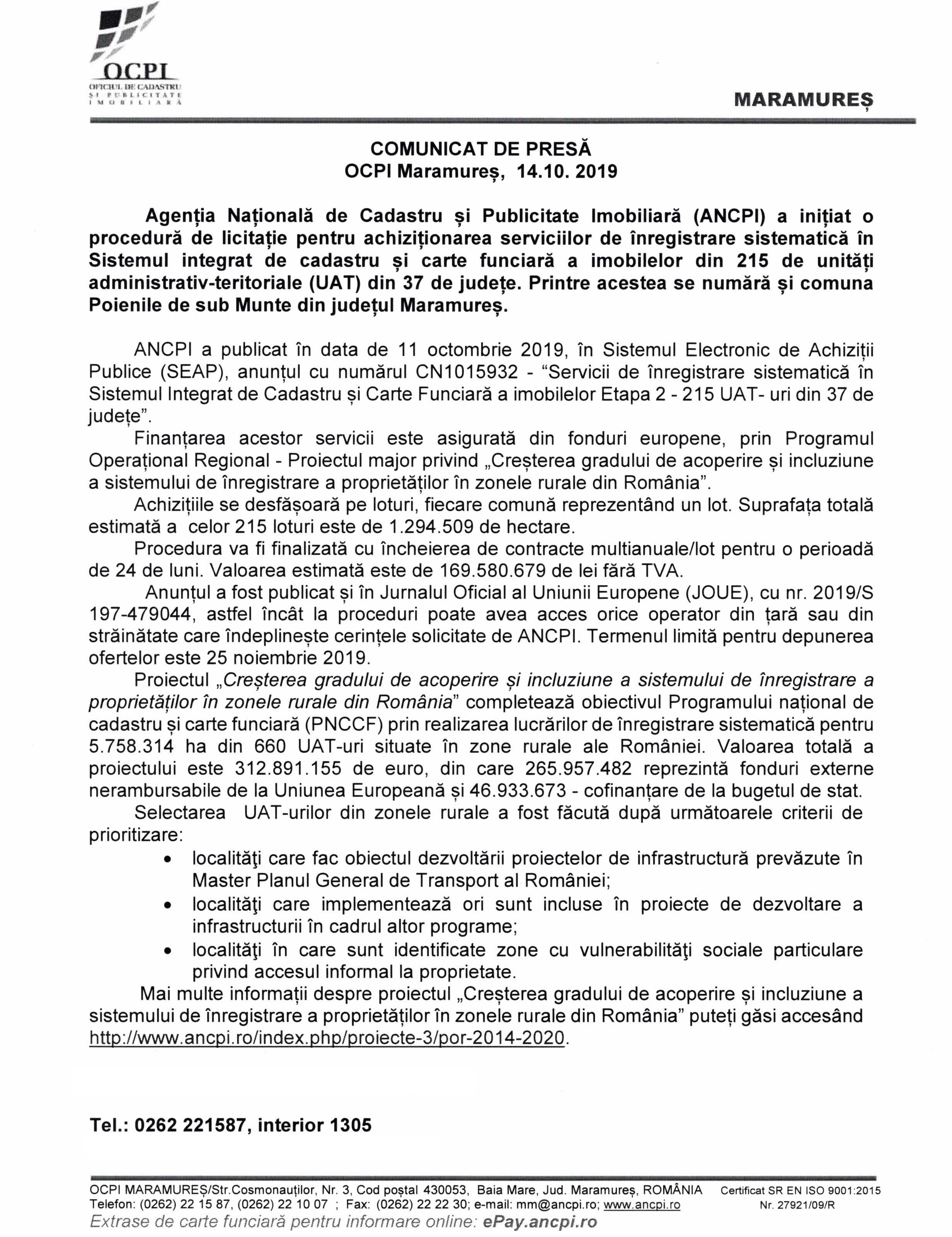 """COMUNICAT DE PRESĂ. """"Servicii de înregistrare sistematică în cadrul Sistemului intergrat de cadastru și carte funciară a imobilelor din 215 UAT -uri din 37 de județe, incluzând comuna Poienile de sub Munte din județul Maramureș"""
